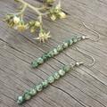 Green and White Jasper Stone Earrings