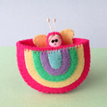 Rainbow Tooth fairy pouch, felt pocket, miniature butterfly, pink play bed set