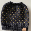 Knitted grey messy bun ponytail beanie mustard fair isle