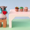 Miniature Wool Felt Mouse, dollhouse, love heart, Valentines Day, keepsake gift