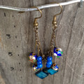 Blue Stone, Shell and Swirl Earrings