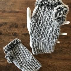 Fingerless Fur-Trimmed Crochet Mittens