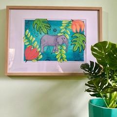 Colourful Tropical Elephant Mandala prints - A3 A4 & A5