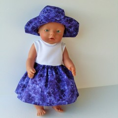 Dolls clothes dress and hat for Baby Born doll or similar sized dolls