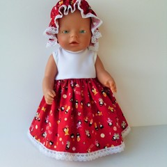 Dolls clothes dress with mop cap  for Baby Born doll or Cabbage  Patch doll.