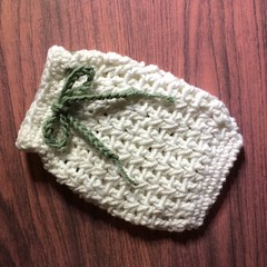 White Crocheted Soap Saver / Body Washer with Sage Green Lace