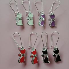 Silver enamel cat charm earrings