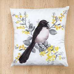Willy Wagtail Cushion Cover Australian Bird Pillow