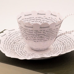 Persuasion teacup - teacup made from old book pages - literary curio