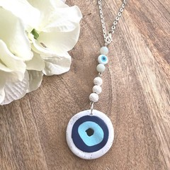 PRE-ORDER :Polymer Clay Evil Eye Essential Oil Diffuser Car Charm with Amazonite