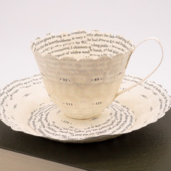 Literary teacup - teacup made from book pages - literary curio