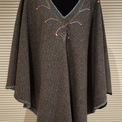 Wool Cape with Hand Embroidery Xmas Gift for her