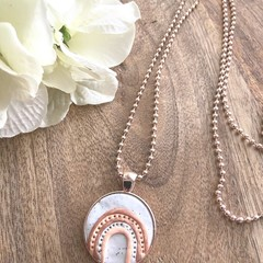Rose Gold Plated Polymer Clay Rainbow Cabochon Necklace- Wedding Birthday Gift