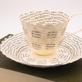 Mr Darcy and Elizabeth teacup - teacup made from book pages - literary curio