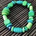 Green wooden bracelet - Beads - Boho