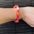 Pink Red wooden bracelet - Beads - Boho