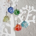 Simple Modern Round glass wire wrapped dangle earrings , Green Red Blue Yellow