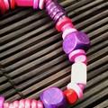 Purple Pink wooden bracelet - Beads - Boho