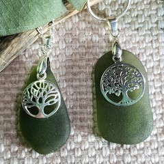 Seaglass Green - Tree of Life Necklaces