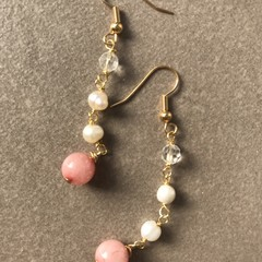 Coral and Pearls Drop Earring