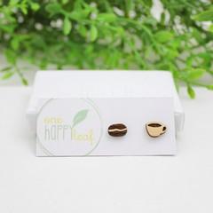 Coffee lovers gift - coffee jewelllery - earrings - coffee and cup earrings - co