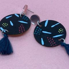 Handpainted tassel earrings