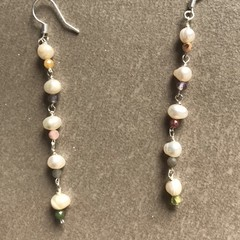 Pearls and Natural Stone Drop Earring