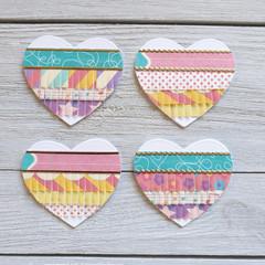 Paper Fringed Heart Embellishments