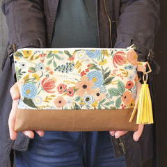 Cotton and Steel floral fabric clutch bag for women
