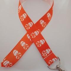 Orange monkey print lanyard / ID holder / badge holder