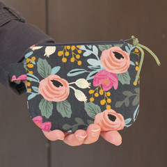 Black and pink cotton floral makeup coin purse