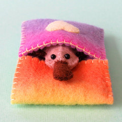 Miniature Felt Platypus, play set, animal bed, rainbow wool felt, Australian