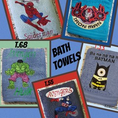 Embroidered Bath Towels featuring Heroes  $20 each