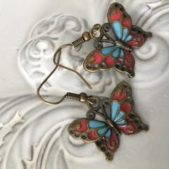 Butterfly Earrings enamel and  bronze tone