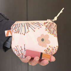 Pink wattle print make up coin purse