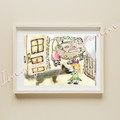 Original - Illustrated naive art - Brother Lawrence print about tranquility.