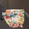 Floral blue and pink makeup coin purse