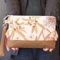 Pink wattle print clutch bag for women