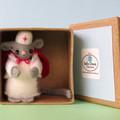 Nurse mouse, Miniature Wool Felt Mouse, dollhouse, gift for nurse, keepsake gift