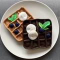 Felt Chocolate and vanilla waffles