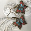 Butterfly Earrings enamel and  bronze tone