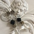 Beaded drop earring black with silver tones  with organza bag