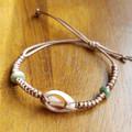On The Beach - Bracelet-Natural Shell-Boho Hippie Style-Handmade-Jade