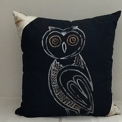 Hand painted Owl on a Black Cushion XMas gift for Home