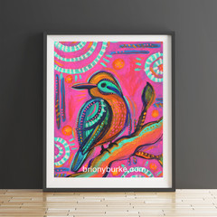 Pink Boho Bird 8 x 10 Inches Print.