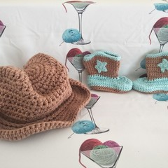 Boot Scootin' Cowboy Hat & Bootee Set