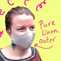 Women Beige Linen Face Mask