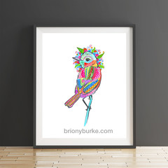 Rainbow Bird 8 x 10 Inches Print.