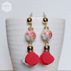 Colorful Kimono Floral Bead and Red White Tassel Earrings