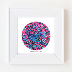 Pink Blue Bird in Circle 8 x 8 Inches Print.